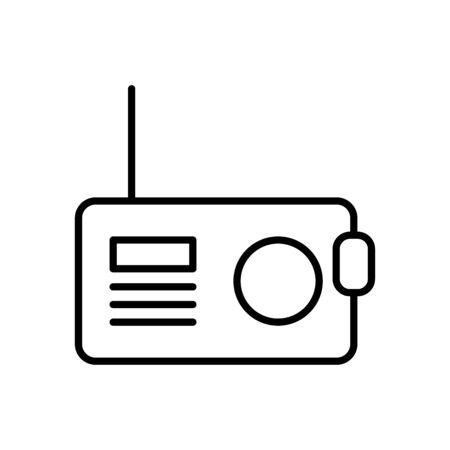 retro radio icon over white background, line style, vector illustration