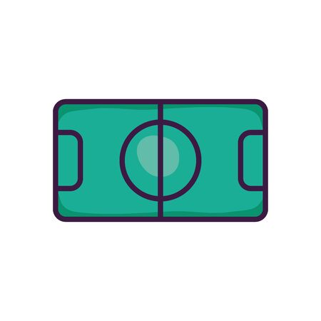 soccer field icon over white background, line color style, vector illustration