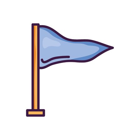 sport pennant icon over white background, line color style, vector illustration