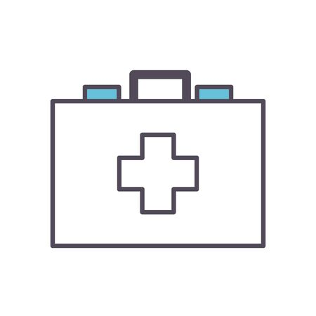 kit with cross line and fill style icon design of medical care and covid 19 virus theme Vector illustration