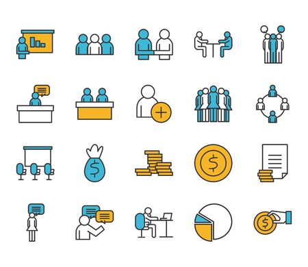 People line and fill style icon set design of Person profile social communication and human theme Vector illustration