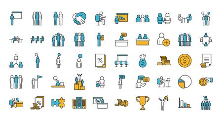 People line and fill style icon set design of Person profile social communication and human theme Vector illustration Illustration