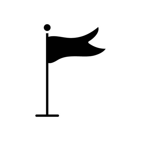 flag on pole icon over white background, silhouette style, vector illustration
