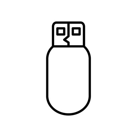 usb, flash drive icon over white background, line style, vector illustration Stock Illustratie