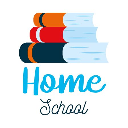 Home school letter design with stack of books icon over white background, colorful design, vector illustration 向量圖像