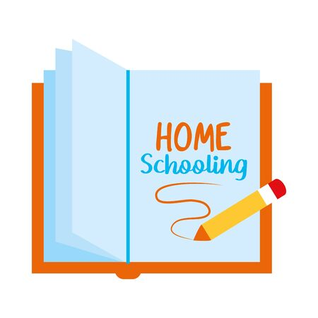 pencil and book with home schooling lettering design over white background, vector illustration 向量圖像