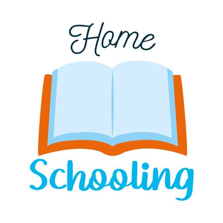 home schooling lettering design with book icon over white background, vector illustration