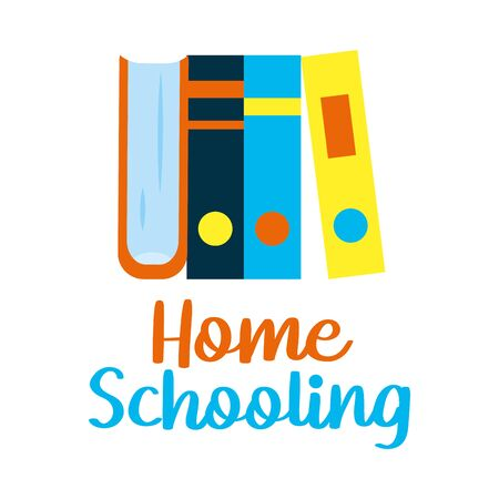 academic books and home schooling lettering design over white background, vector illustration