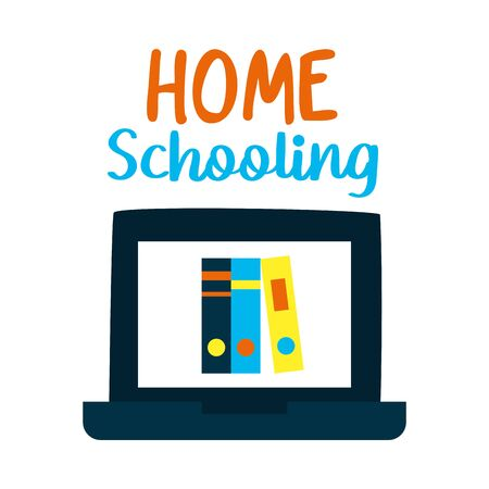 home schooling lettering design with laptop computer with books on screen over white background, vector illustration