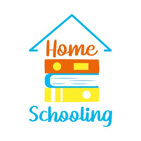 home schooling lettering design with house roof shape and books icon over white background, vector illustration