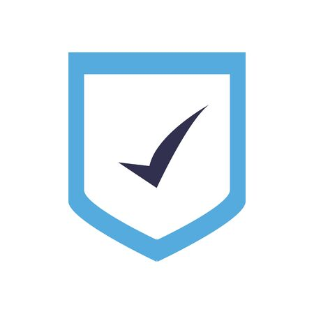 Check mark on shield flat style icon design, Ok tick choice correct approved choose vote positive and web theme Vector illustration