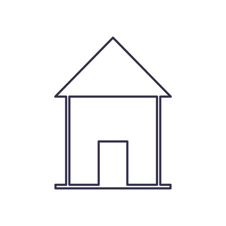 House with door line style icon design, Home real estate building residential architecture property and city theme Vector illustration