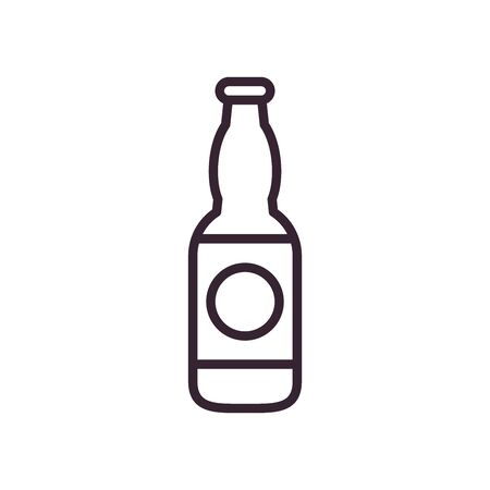 Beer bottle line style icon design, Pub alcohol bar brewery drink ale and lager theme Vector illustration