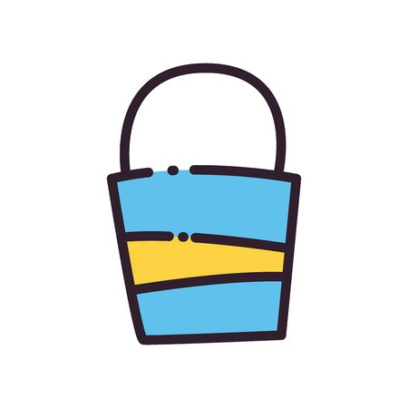 Sand bucket fill and line style icon design, Summer vacation and tropical theme Vector illustration