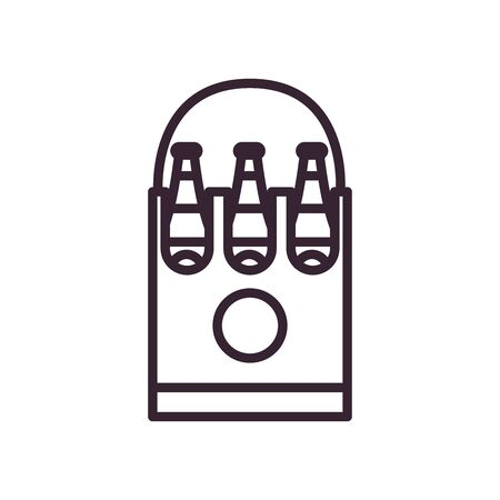 Beer bottles inside box line style icon design, Pub alcohol bar brewery drink ale and lager theme Vector illustration