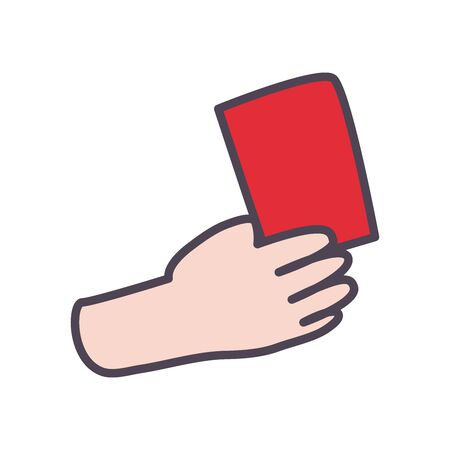 hand with red card line and fill style icon design, Soccer football sport hobby competition and game theme Vector illustration