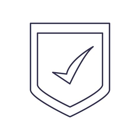 Check mark on shield line style icon design, Ok tick choice correct approved choose vote positive and web theme Vector illustration