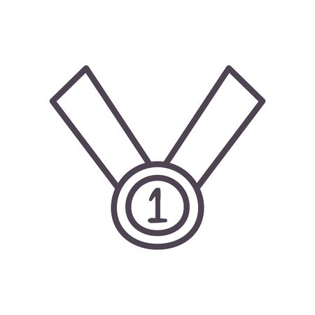 Medal line style icon design, Winner first competition success sport best leadership compete and challenge theme Vector illustration Illusztráció