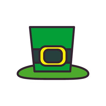 hat line and fill style icon design, Saint patricks day ireland celebration fortune irish natural and lucky theme Vector illustration