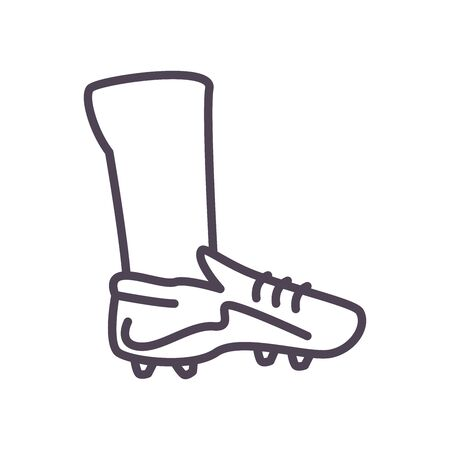 shoe line style icon design, Soccer football sport hobby competition and game theme Vector illustration Archivio Fotografico - 150128439