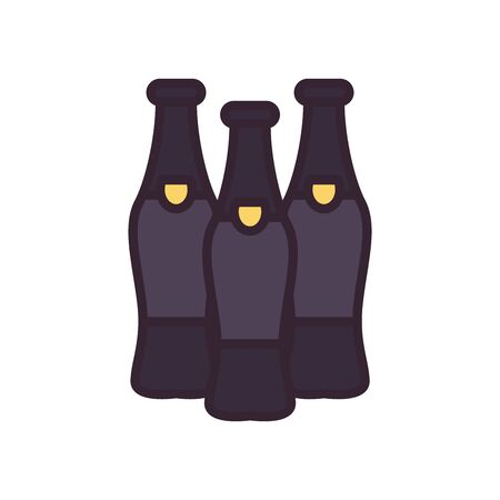 Beer bottles line and fill style icon design, Pub alcohol bar brewery drink ale and lager theme Vector illustration