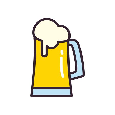 Beer glass line and fill style icon design, Pub alcohol bar brewery drink ale and lager theme Vector illustration