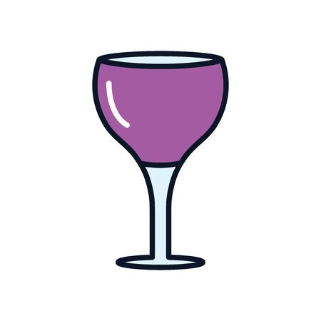 wine glass icon over white background, line fill style, vector illustration