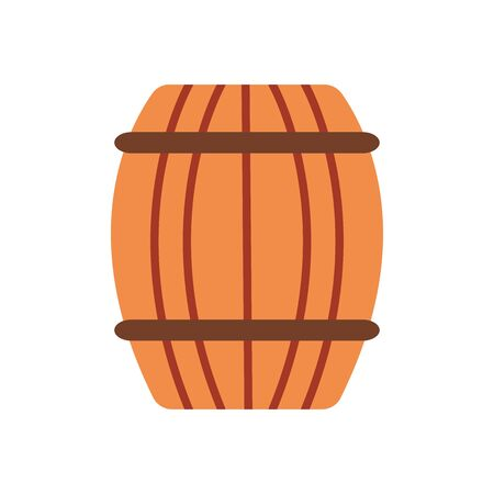wooden barrel icon over white background, flat style, vector illustration