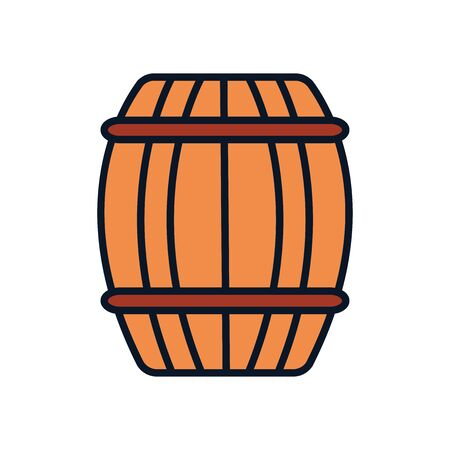 wooden barrel icon over white background, line fill style, vector illustration