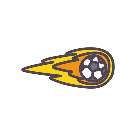 Ball with flame line and fill style icon design, Soccer football sport hobby competition and game theme Vector illustration