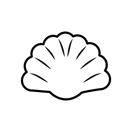 seashell icon over white background, line style, vector illustration
