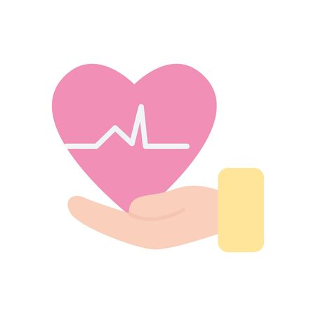 hand with cardio heart icon over white background, flat style, vector illustration