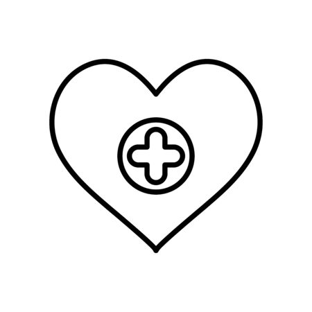 heart with medical cross icon over white background, line style, vector illustration
