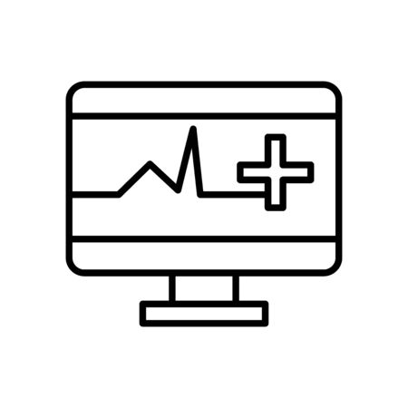 cardio monitor icon over white background, line style, vector illustration
