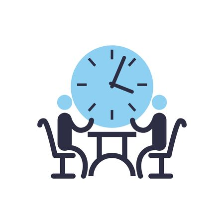 Businessmen avatars meeting on table with clock flat style icon design, Office business management and corporate theme Vector illustration