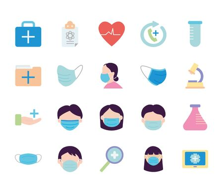 magnifying glass and medical care icon set over white background, flat style, vector illustration Banco de Imagens - 150211838
