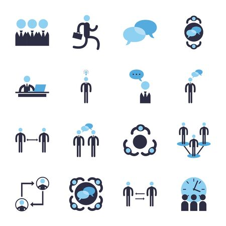 Businessmen avatars meeting flat style icon set design, Office business management and corporate theme illustration Vetores