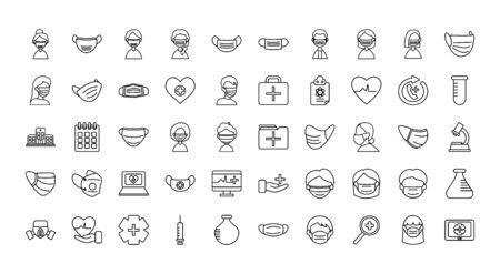 medical mask and medical icon set over white background, line style, illustration Banco de Imagens - 150230191