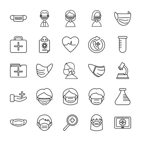 chemical flask and medical care icon set over white background, line style,  illustration