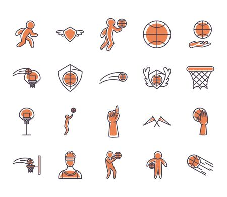 line and fill style icon set design, Basketball sport hobby competition and game theme Vector illustration