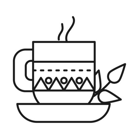 Indian coffee mug line style icon design, India culture travel and asia theme Vector illustration Illustration