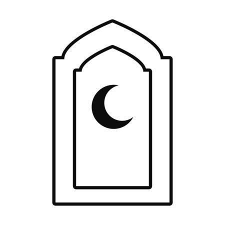 Eid mubarak moon line style icon design, Islamic religion culture and belief theme Vector illustration