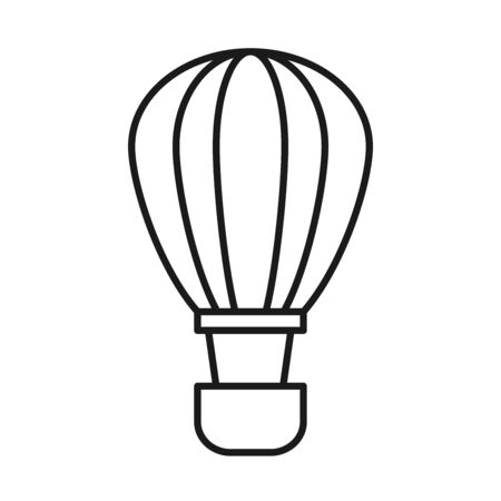 Hot air balloon line style icon design of Transportation adventure freedom journey travel up airship and trip theme Vector illustration