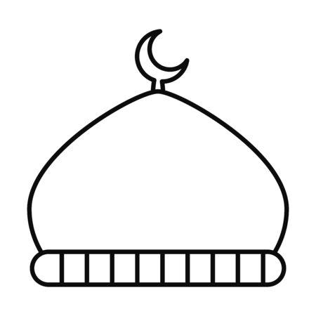 Eid mubarak mosque line style icon design, Islamic religion culture and belief theme Vector illustration