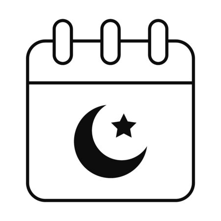Eid mubarak calendar line style icon design, Islamic religion culture and belief theme Vector illustration