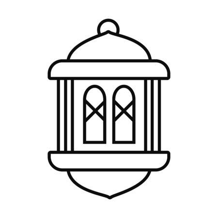 Eid mubarak lantern line style icon design, Islamic religion culture and belief theme Vector illustration
