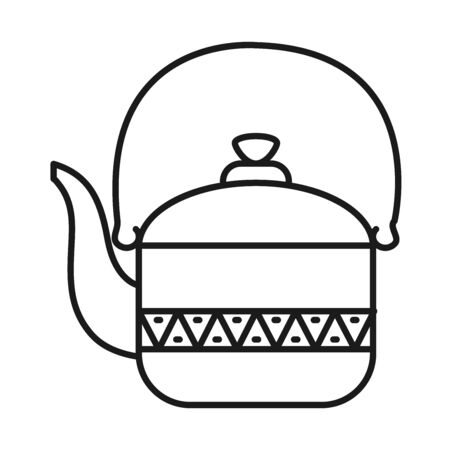 Indian teapot line style icon design, India culture travel and asia theme illustration