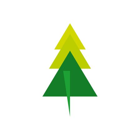 geometric and abstract pine tree flat style icon design, shape and figure theme illustration