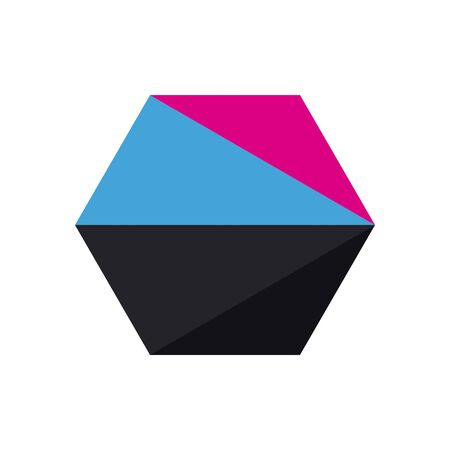 geometric and abstract hexagon flat style icon design, shape and figure theme illustration