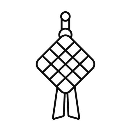 Eid mubarak ketupat line style icon design, Islamic religion culture and belief theme illustration